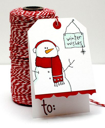 """Top folded snowman tag--cute--would """"love"""" to make handmade tags this year!!!   :-)"""
