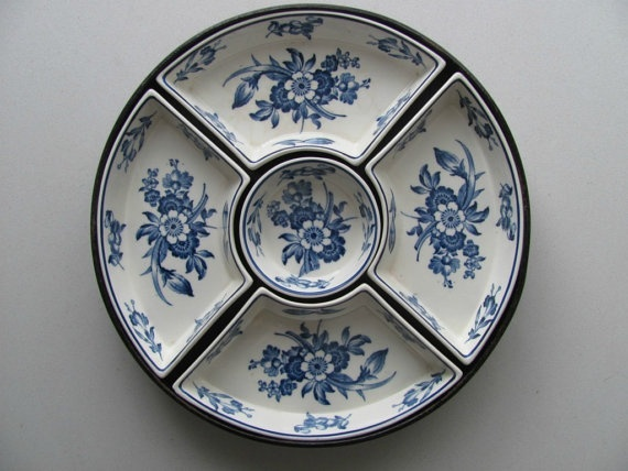 Vintage Blue Floral Transferware 7 pc Condiment Set with Original Wood Tray  by EnglishTransferware, $129.99