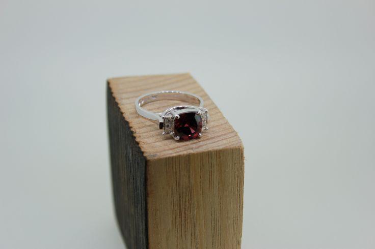 Custom design. Hand-made in Melbourne. White gold. Garnet. Diamond. #roseandcrownjewellers #diamond #garnet #jewellery