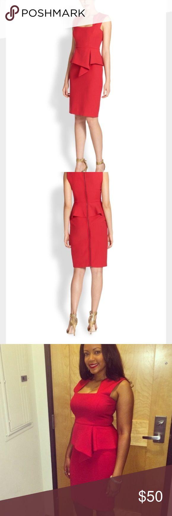 BCBGMaxAzria red peplum dress Perfect for a gala, wedding, or party. Excellent condition.  Red peplum dress.  Square neck. Sleeveless. Princess seams. Wrap peplum at waist with draped detail. Pencil skirt. Exposed back dual-way zipper closure. BCBGMaxAzria Dresses Mini