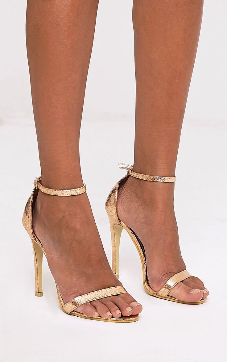 Clover Rose Gold Strap Heeled Sandals - High Heels - PrettylittleThing | PrettyLittleThing