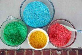 Cómo hacer arroz de colores para trabajar con los niños