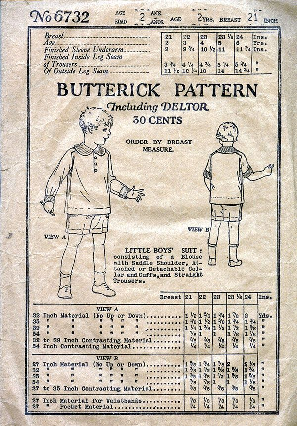 "Butterick 6732; ©1919; Little Boys' Suit: Consisting of a Blouse with Saddle Shoulders, Attached or detachable Collar and Cuffs, and Straight Trousers. Add a photo to the gallery by clicking the ""modify"" button below."