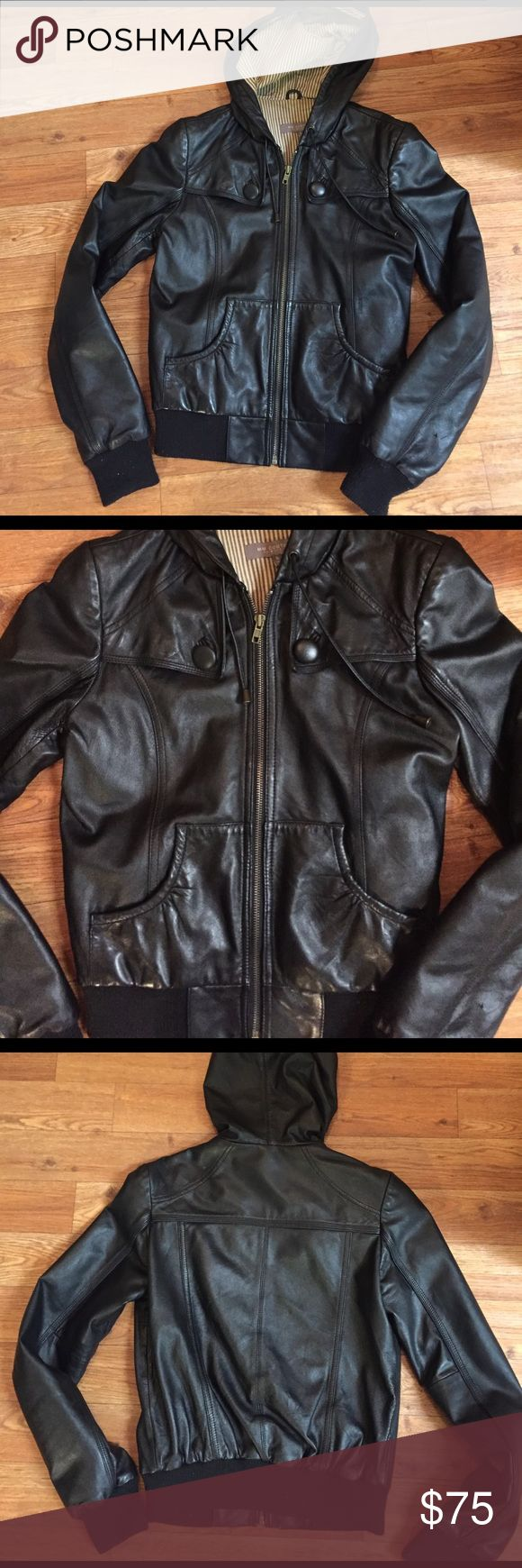 Small Miss Me Couture Leather Jacket with hood I'm great condition! The lining is a brown gray stripe. This is a realllly soft leather with fabric cuffs, a zip front, draw string hood, and lots of beautiful detail! There is one small fade spot, but other than that, it looks great! Miss Me Jackets & Coats