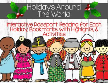 "This set covers 12 various countries:--Egypt Spain China Sweden Israel Russia Ireland America Holland New Zealand Korea South AfricaWith each country there is a reading passage to explain the holiday, an activity, a bookmark, a passport page to review, and 2 ""stamps"" that are pieces to be glued into the students' passports at the end of each day.**This set comes in full color AND printer friendly**Here's the Table of Contentsp.2 - Previewp.3 - Thanksp.4  Table of Contentsp.56 - Passport…"