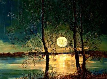 "Saatchi Online Artist Justyna Kopania; Painting, ""Moon"" #art"