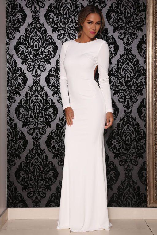 Cheap plain white maxi dress