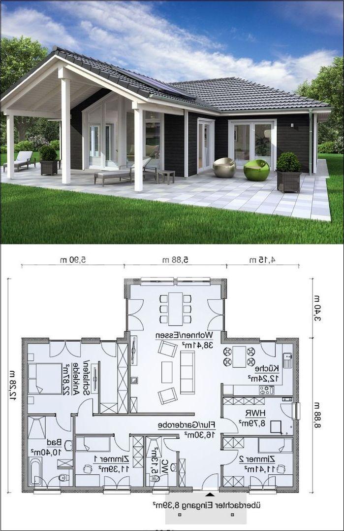 Bungalow D 39 Angle Rustique Scandinave Avec Facade En Bois 4 Chambres Floorplan Ebenerd Amp Angle Plan Maison Architecte Maison Prefabriquee Maison