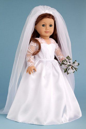 Princess Kate Royal Wedding Dress with White Leather Shoes Bouquet and Tulle Veil - Clothes for American Girl Dolls $32
