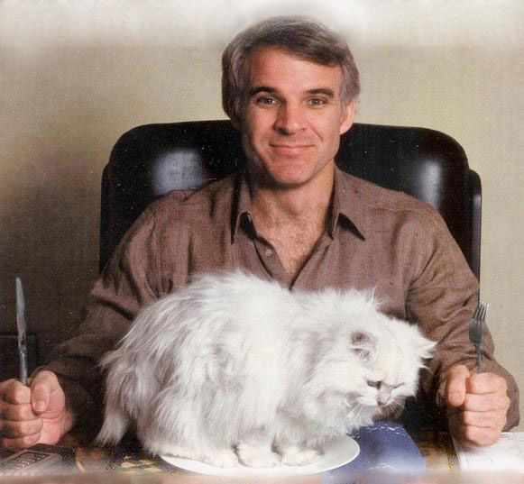 I appreciate his strange obsession with posing with cats