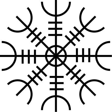 """O leme do incrédulo ~ Provavelmente o mais conhecido dos varais da Islândia, o leme do incrédulo, com o nome """"ægishjálmr"""" é dito para fazer uma irresistível de seus inimigos; o que significa que eles são impotentes contra você. Este símbolo também dá o rosto portador de terror, ou seja, faz o usuário corajosa, e ajuda-lo a superar as pessoas com naturezas-virando. É um símbolo popular para ser usado em um talismã ou mesmo uma tatuagem."""