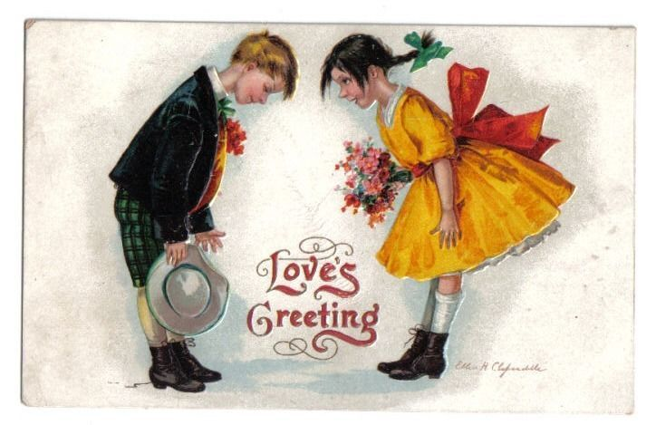 Girl & Boy Bowing To Each Other~Yellow Dress~A/S Clapsaddle~Valentine~1912 #ValentinesDay