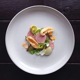 And the chef is great at making total junk look super fancy. For example, look at this delicious Lunchables kielbasa w/ pickle spheres, pork rinds, tostitos salsa con queso fluid gel, and powdered cheese from boxed mac and cheese. | This Brilliant Instagram Chef Is Making Junk Food Look Like Fine Dining