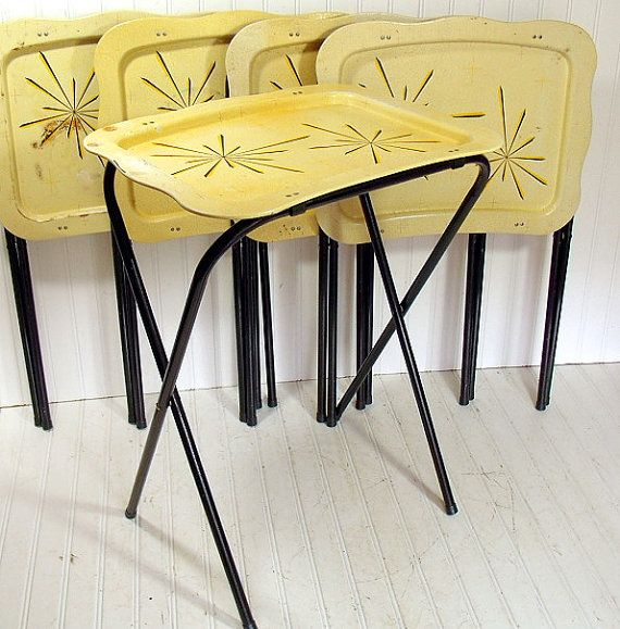 Charming Vintage Metal Tray Tables Set Of 5 Retro Atomic By DivineOrders, $70.00