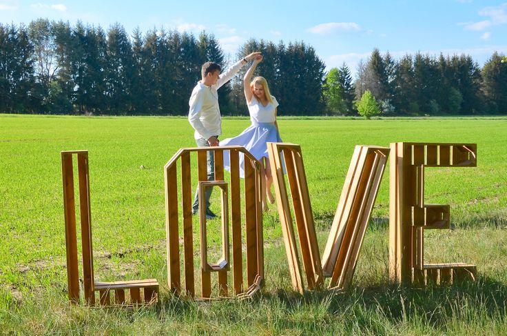 Litery Love rustykalne, skrzynkowe LOVE LETTERS