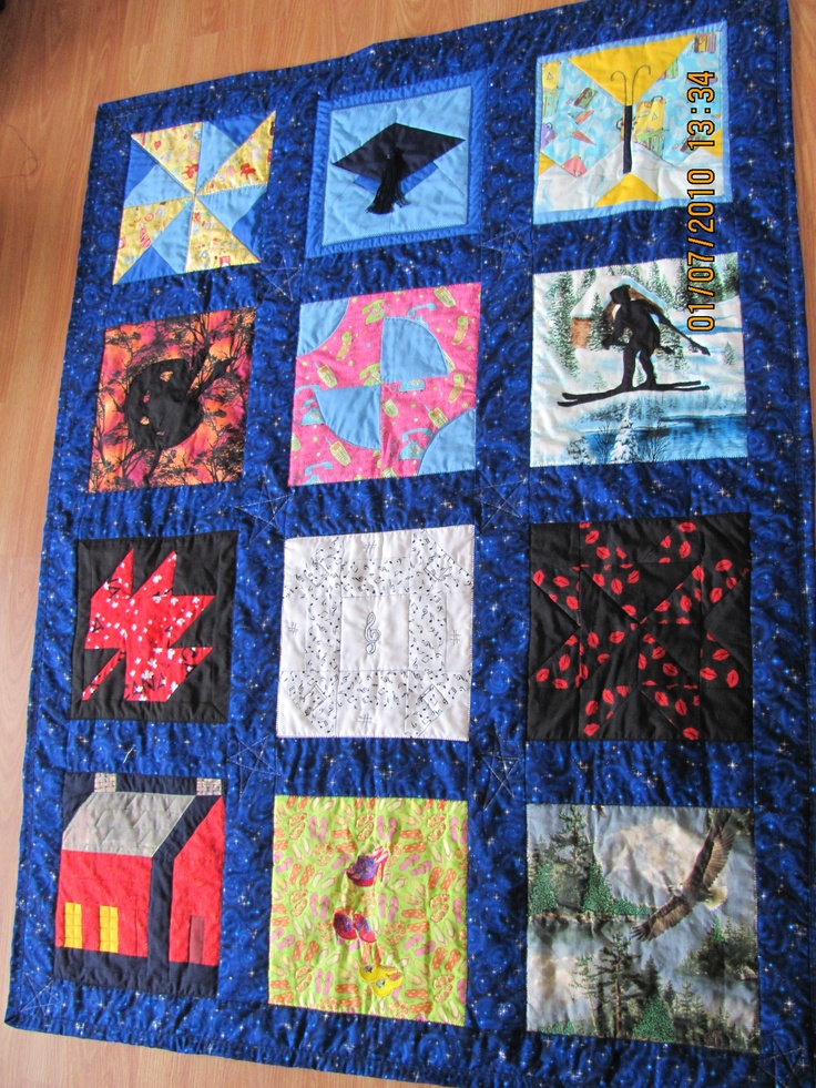 Example: Memory Quilt Can be made with 3 to 16 blocks, You choose the memory each block depics and I will create a quilt or wall hanging.  $50. per block including all finishing.    Plus Handling and Shipping.   marilynpearson2@gmail.com