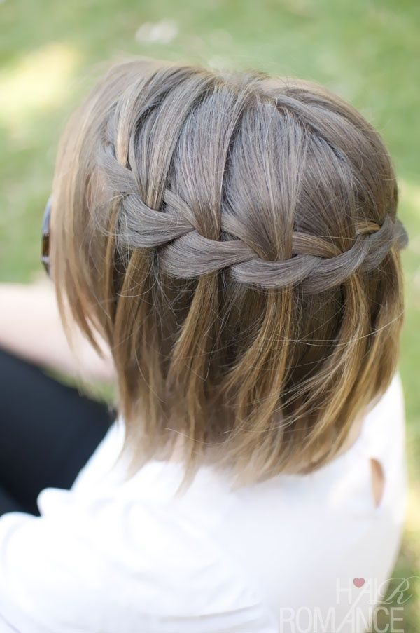 Waterfall braid in short hair–I really must learn how to do this. So cute and summery. I might even pop a little flower in there!