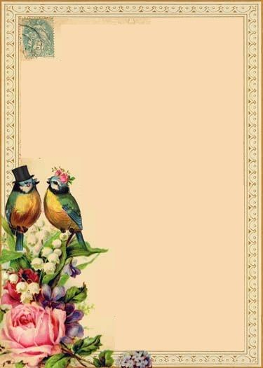 Paper/frame with birds and roses