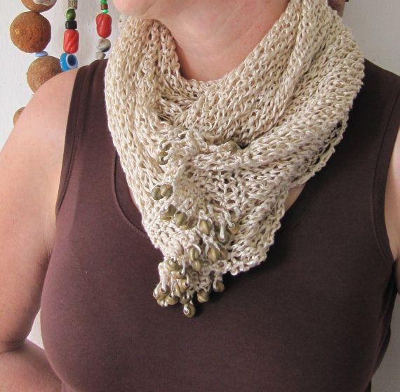 beige kitted scarf/wrapper by SEVILSBAZAAR on Etsy, $30.00