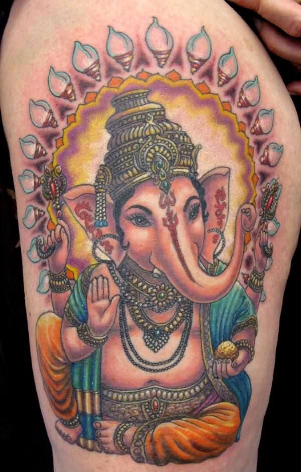 Nice Color Ink Ganesha Tattoo On Side Thigh