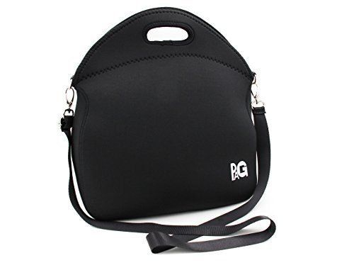 PAG Neoprene Lunch Tote with Strap Insulated Reusable Picnic Lunch Bags for Men Women Adults Kids Boys Girls(Large, Black)
