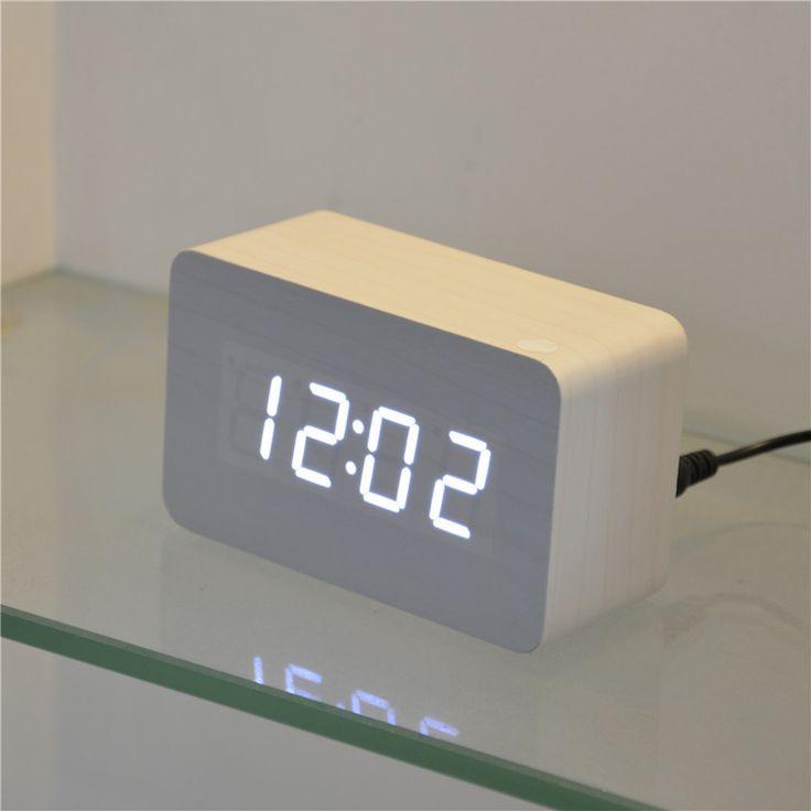 2015 fashion wood &wooden Alarm Clocks, desk Multi-functionTemperature electronic LED Digital Clock, Square Desktop despertador