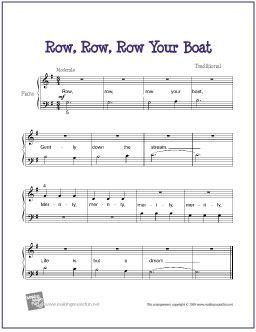 Row, Row, Row Your Boat | Free Sheet Music for Easy Piano - http://makingmusicfun.net/htm/f_printit_free_printable_sheet_music/row_row_row_your_boat_piano.htm