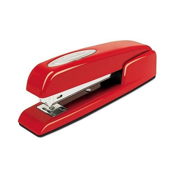 The Red Swingline Stapler ($18) ❤ liked on Polyvore featuring home, home decor, office accessories, swingline, red stapler, red office accessories and swingline stapler