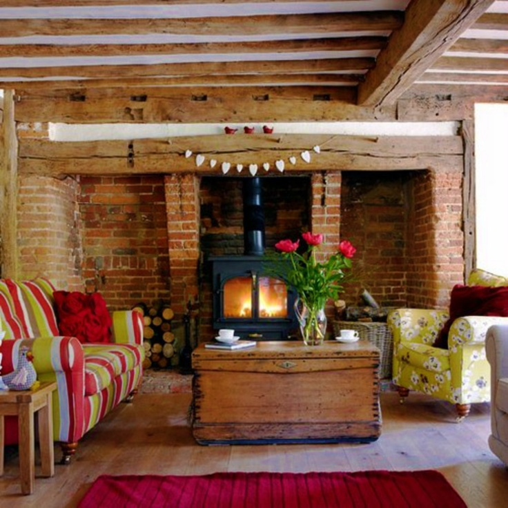 Huge Logburner In Inglenook Fireplace This Great Rustic Living Room