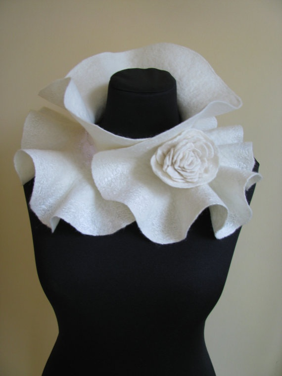 Beautiful!  Handmade Felted Scarf collar neck warmer ivory with Flower Brooch