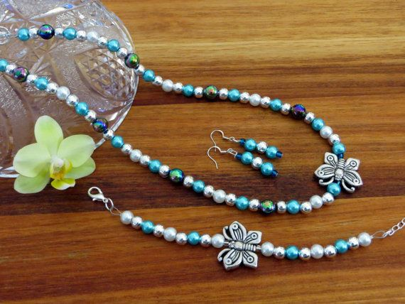 Vibrant Aqua and Butterfly Mixed-Matched Beaded by Alli Flair | FREE shipping worldwide with tracking number!