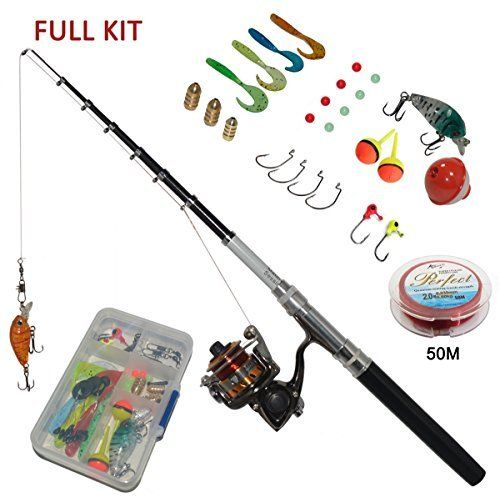 Details about Mini Telescopic Fishing Rod Reel Combos Carbon Rod Spinning Fish Tackle Kit