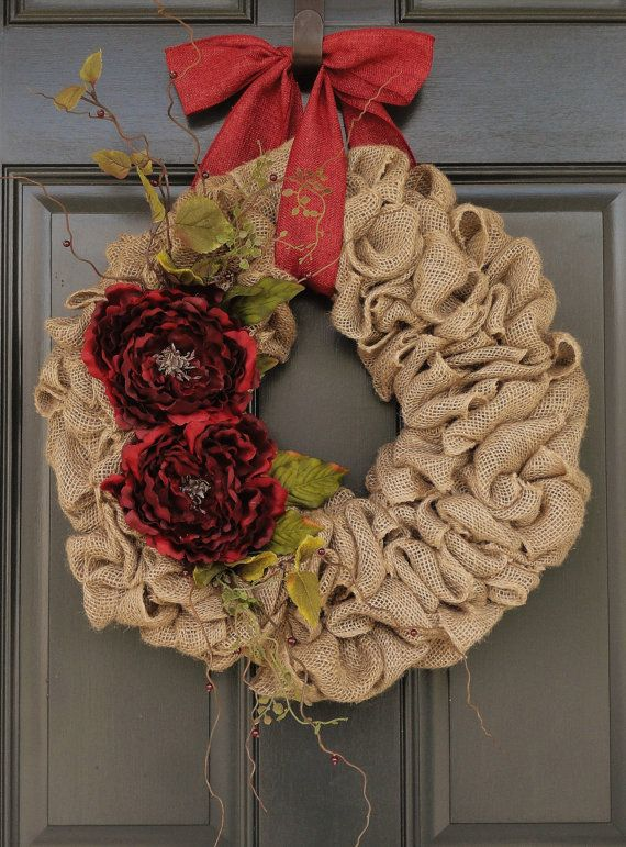 Red Peony Burlap WreathChristmas Burlap by WhimsyChicDesigns, $65.00