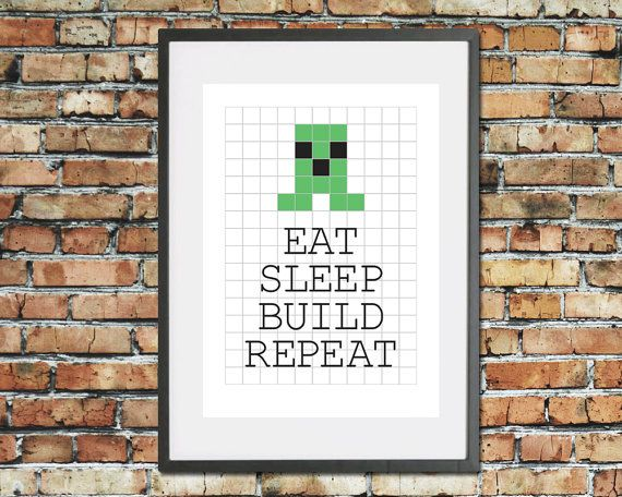 Eat Sleep Build Repeat - Video game print - Kids pixel wall decor - Gaming graph paper illustration - Bedroom quote art