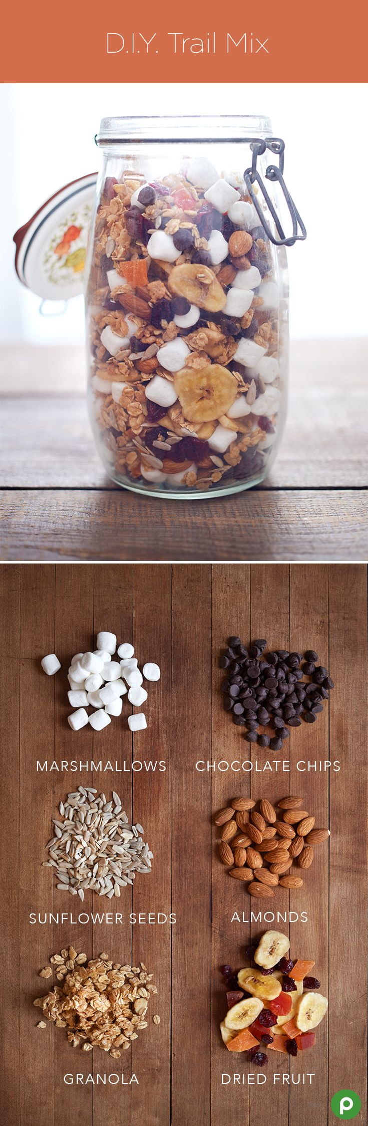 DIY Trail Mix – Put your favorite sweets, treats, dried fruits, and nuts into a jar for your very own trail mix that's perfect for on-the-go snacking. Try mixing marshmallows, chocolate chips, sunflower seeds, almonds, granola, and dried fruit.