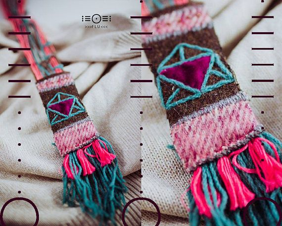 Necklace sewed hippie yarn shamanic boho gypsy triangle fabric