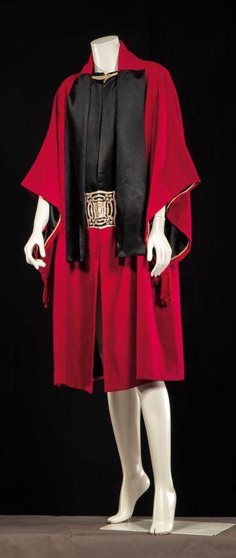 Evening coat 1920s (attributed to Paul Poiret) designer vintage fashion red black suit outfit dress women's museum