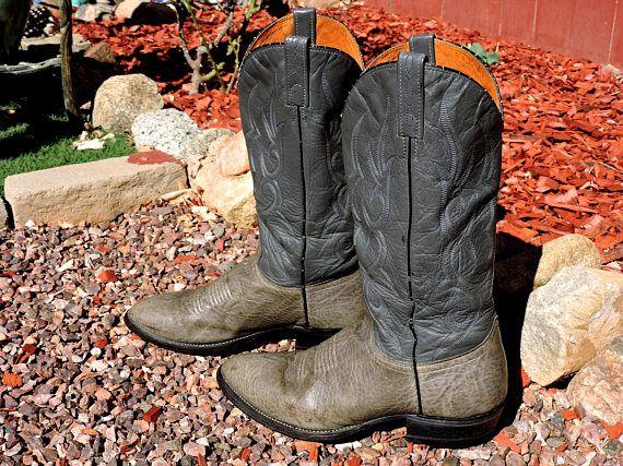 28e91bec941 Vintage J Chisholm boots / size 9.5 D / mens gray leather | cowboy ...