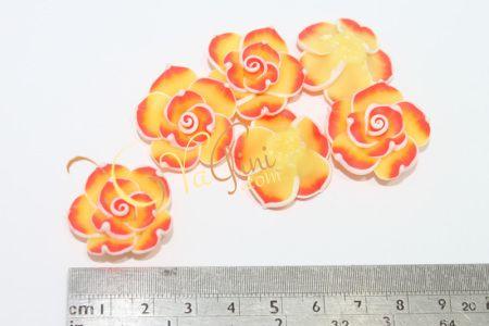 Aplikasi Clay Bunga Tanggung 3cm - Orange Kuning - yagini.com - 085641416429 - 3