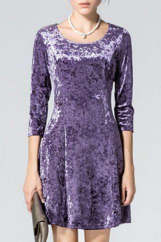 Vintage Solid Color Scoop Neck 3/4 Sleeve Faux Velour Flare Dress For Women