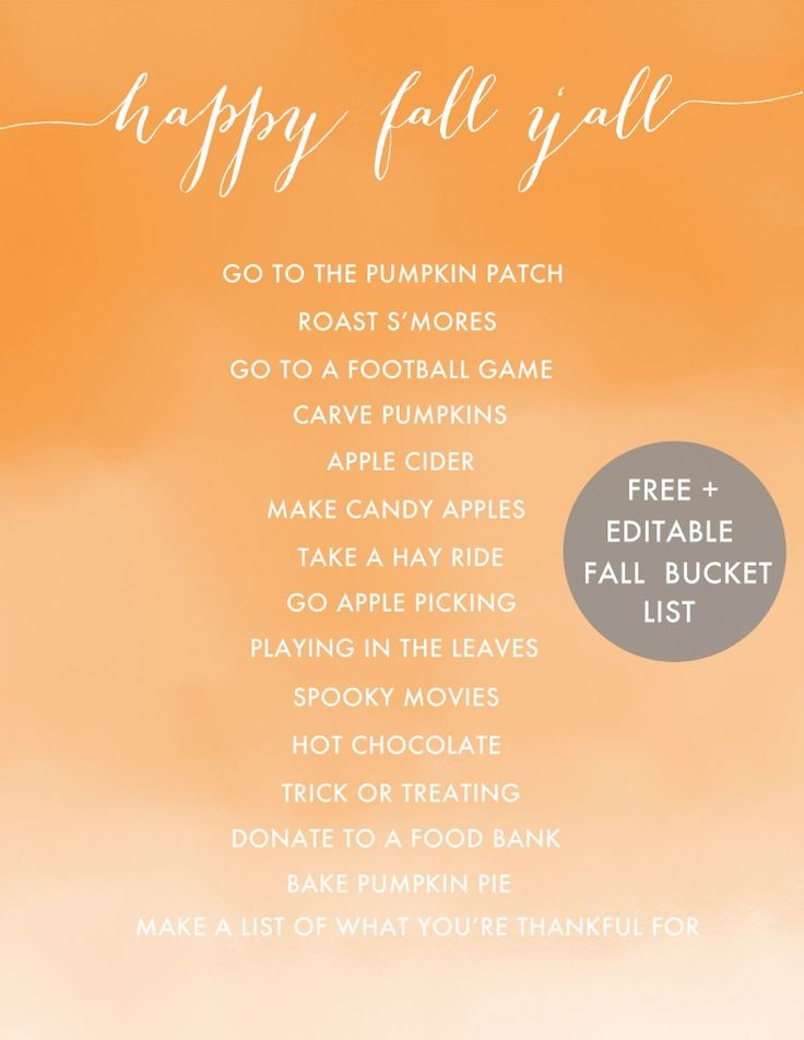 Happy Fall Y'all {Free and Editable Fall Bucket List Printable}