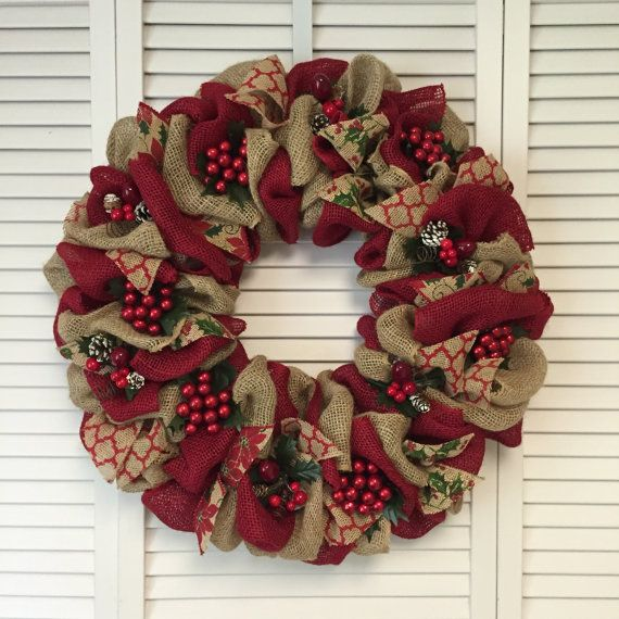 17 best ideas about burlap christmas wreaths on pinterest Burlap xmas wreath
