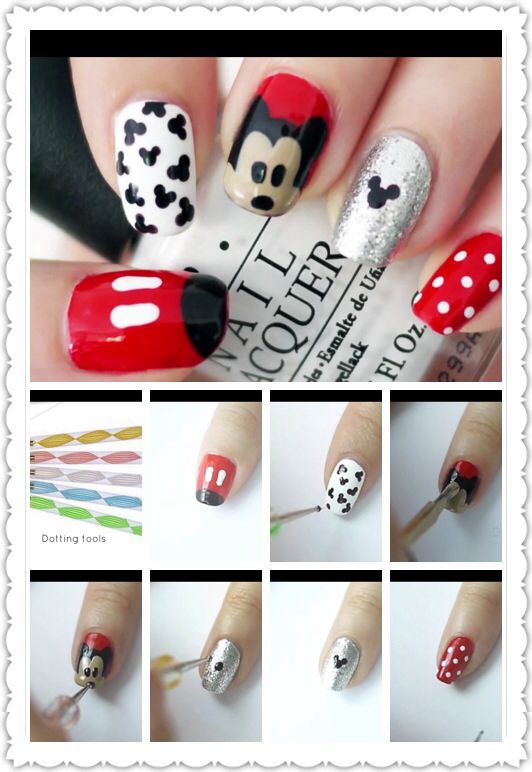 Mickey mouse nail art  Look on youtube to elleandish // janelle