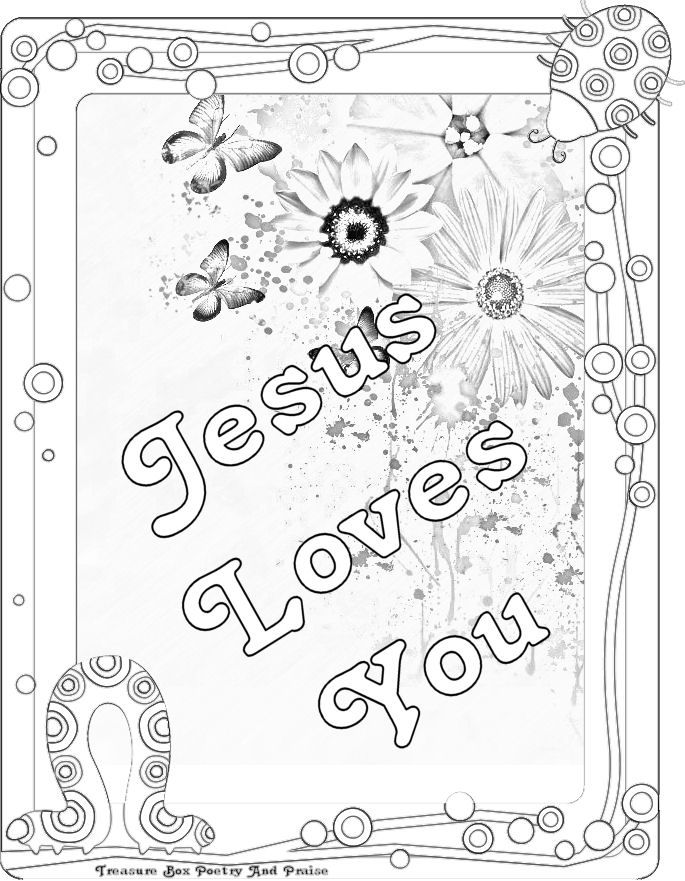 Bible Verse Coloring Pages | Childrens Gems In My Treasure Box: Jesus Loves You - Coloring Sheet