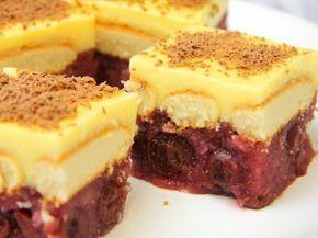 Ingrediente : Pentru tort: 700 gr visine fara samburi 700 ml suc de visine 140 gr zahar pudra 180 gr gris Alte ingrediente: 24 piscoturi 2 plicuri de budinca de vanilie 60 gr zahar pudra 700 ml lapte Pentru decor: 50 gr ciocolata cu...