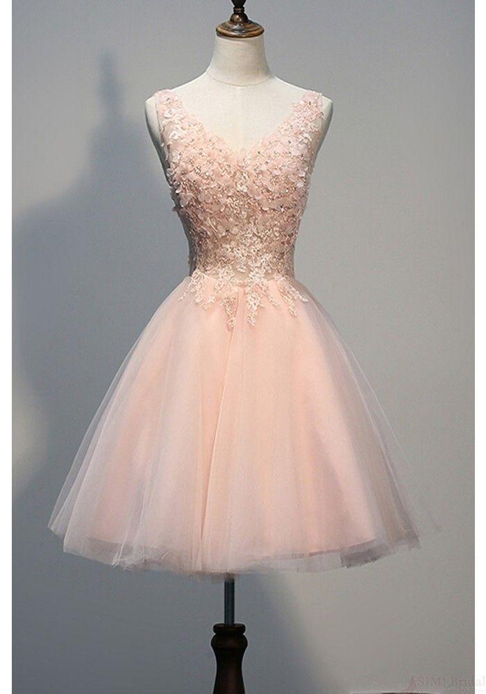 Brand New Elegant Applique Tulle Knee Length Short Party Dresses Homecoming Dresses(ED0688)