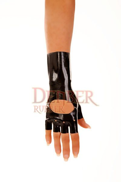 Black Latex Fingerless Wrist Length Gloves, Lightweight 0.3 mm, Bikers Glove  M #Denbur more sizes @http://stores.ebay.com/NYCleather1022