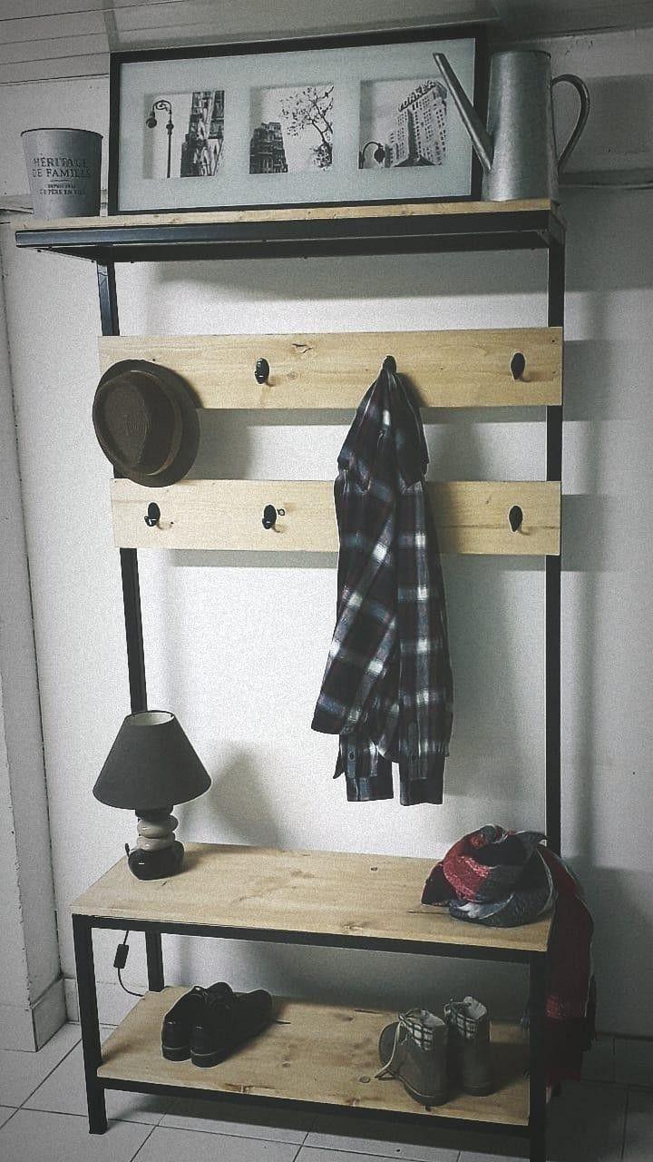 Meuble D Entrée Industriel meuble d'entrée industriel bois métal h1m85, l98cm, p35cm