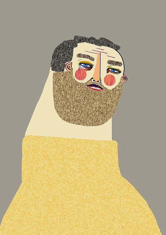Man with Beard. fashion illustration, portrait, art print, fashion art, wall decor, fashion decor, poster, wall art, print.