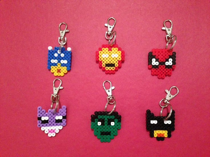 Hama Bead 'Super Hero' themed designs with lobster style key rings.  Price is per keyring and the choices so far are:-  * Captain America * Iron Man * Spiderman * Catwoman * Hulk * Batman  Please allow up to 5 working days.  Posted Royal Mail 2nd Class – Deliver to the UK only – multiple items can be ordered with combined postage cost – please contact me for further details.  £1.50 + 50p P&P